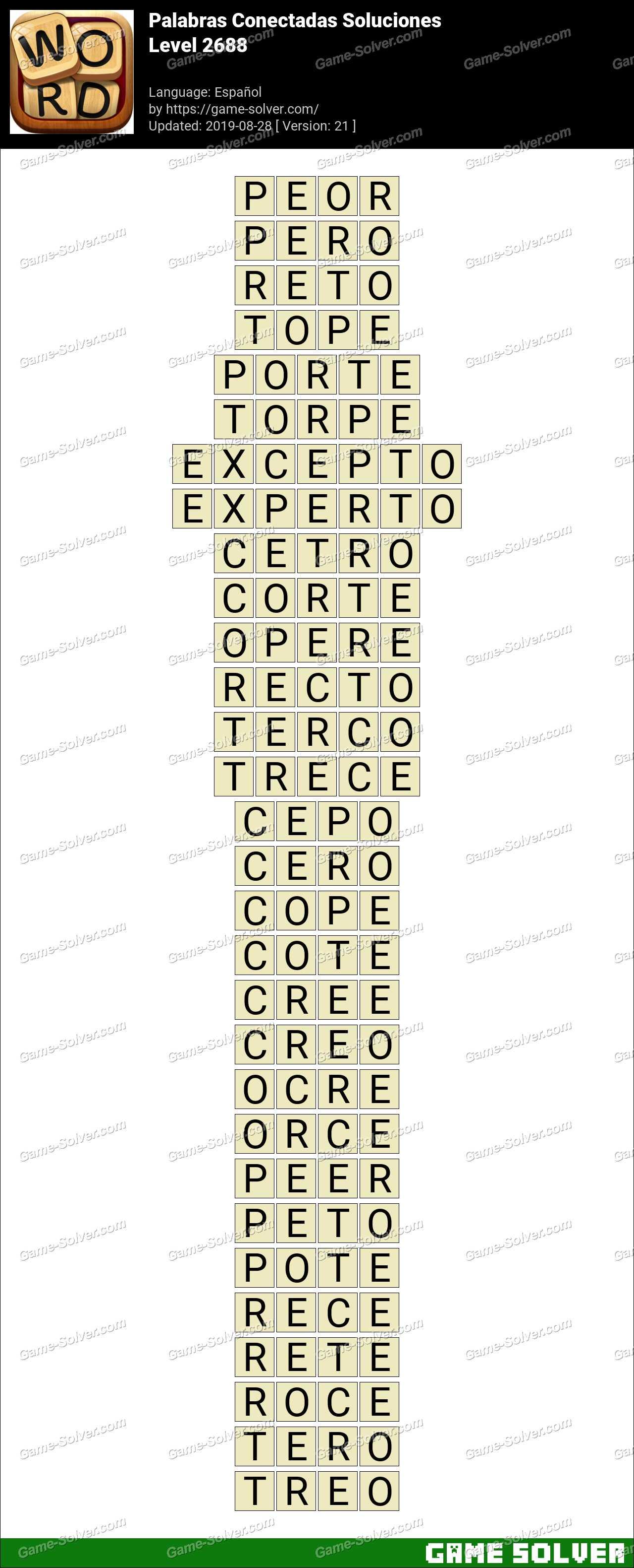 Palabras Conectadas Nivel 2688 Soluciones