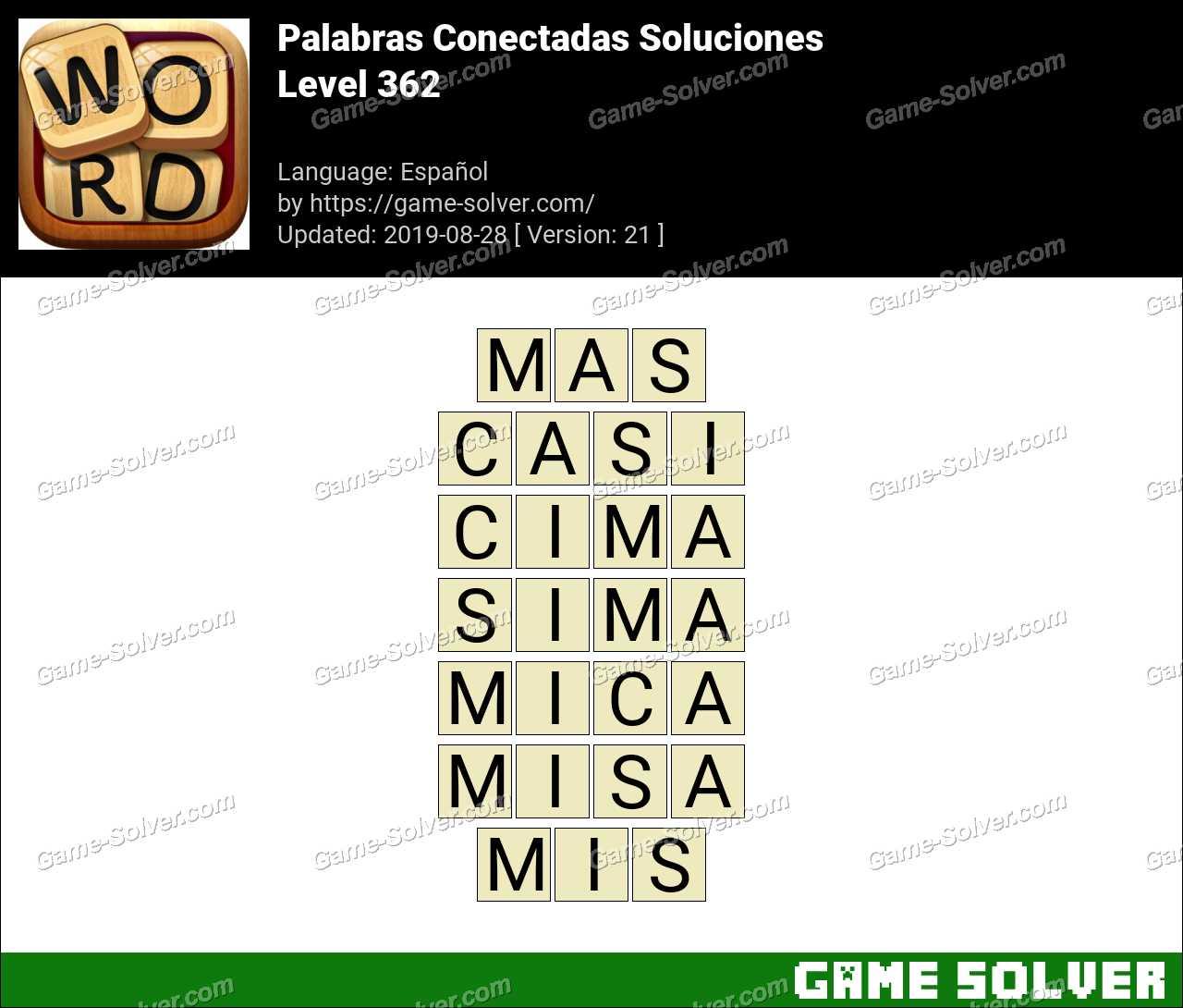 Palabras Conectadas Nivel 362 Soluciones