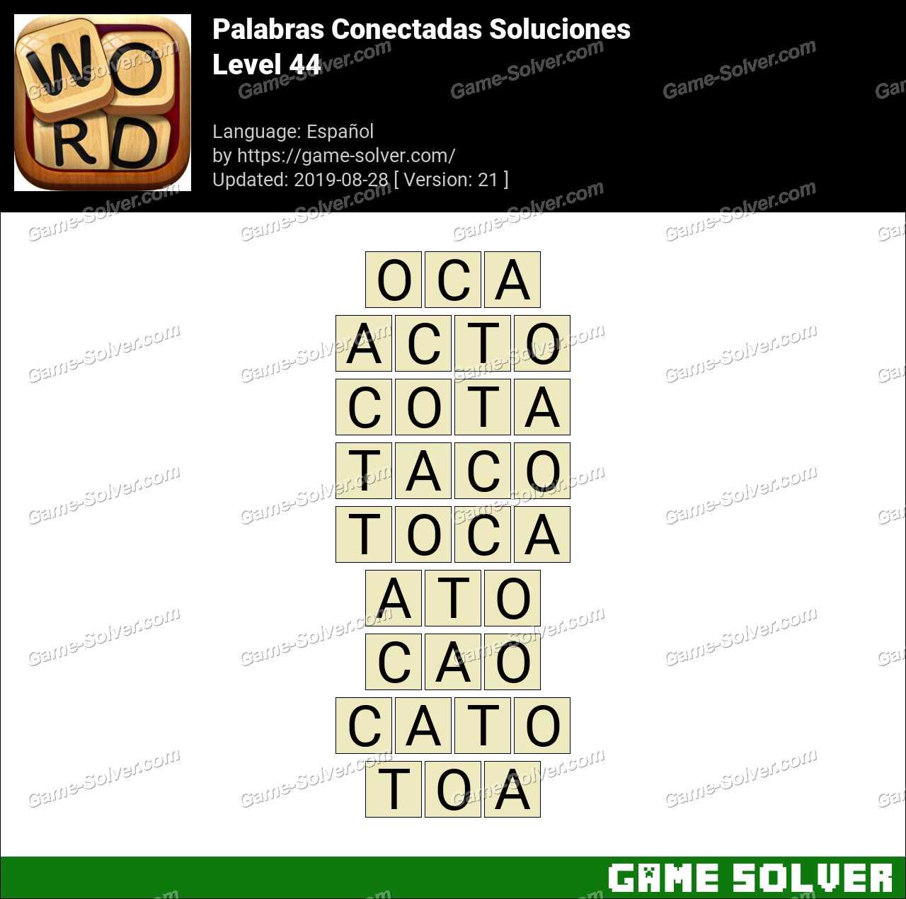 Palabras Conectadas Nivel 44 Soluciones