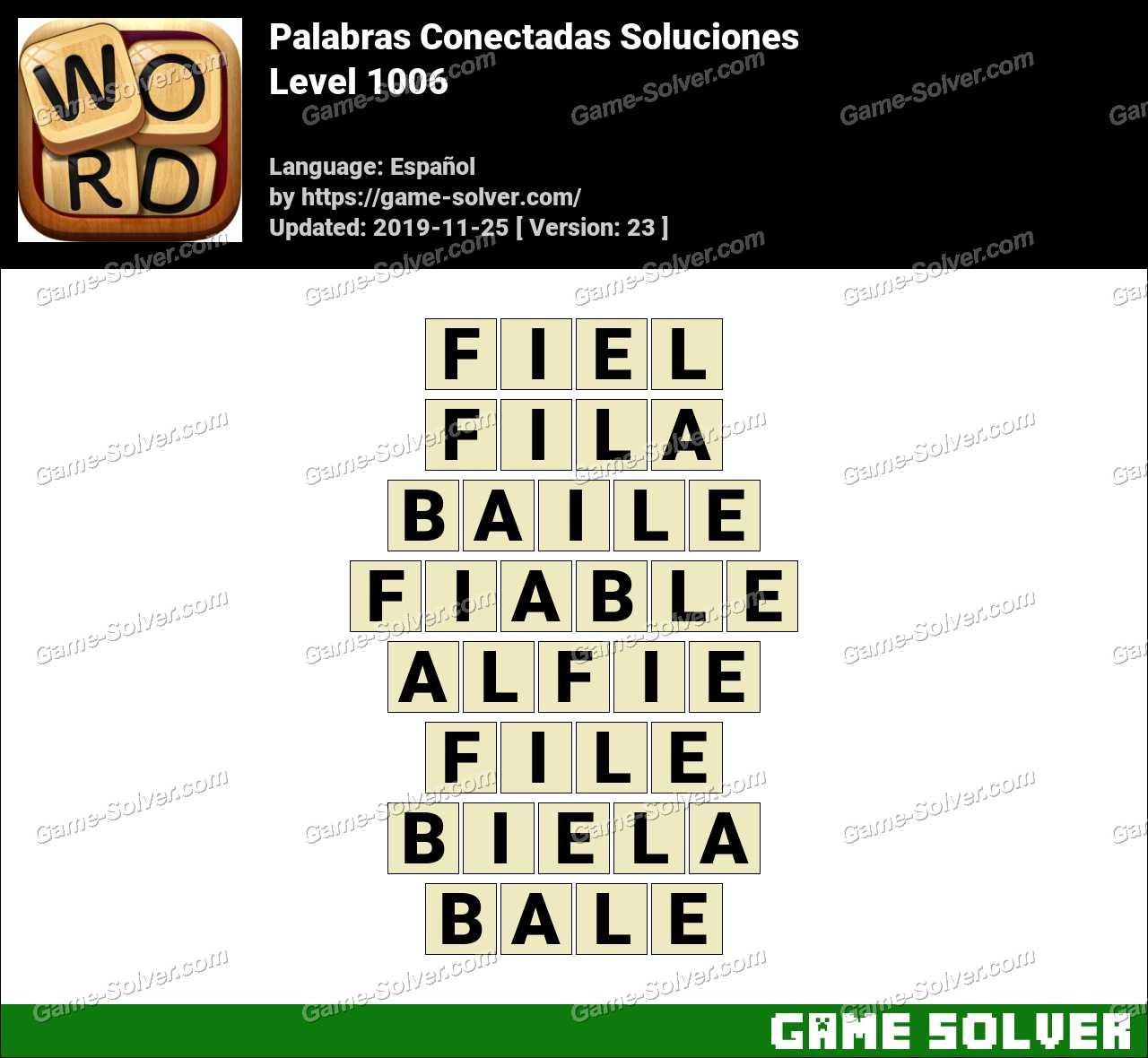 Palabras Conectadas Nivel 1006 Soluciones