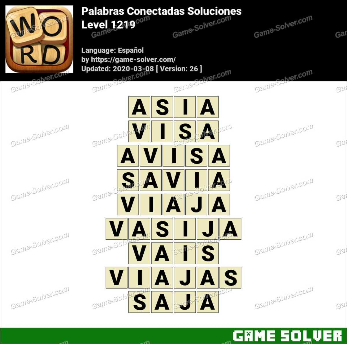 Palabras Conectadas Nivel 1219 Soluciones
