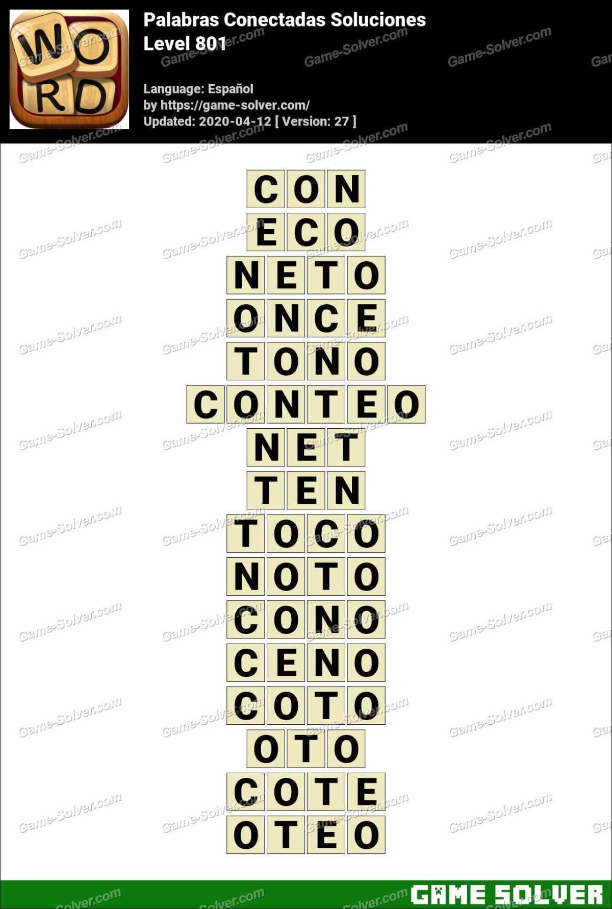 Palabras Conectadas Nivel 801 Soluciones