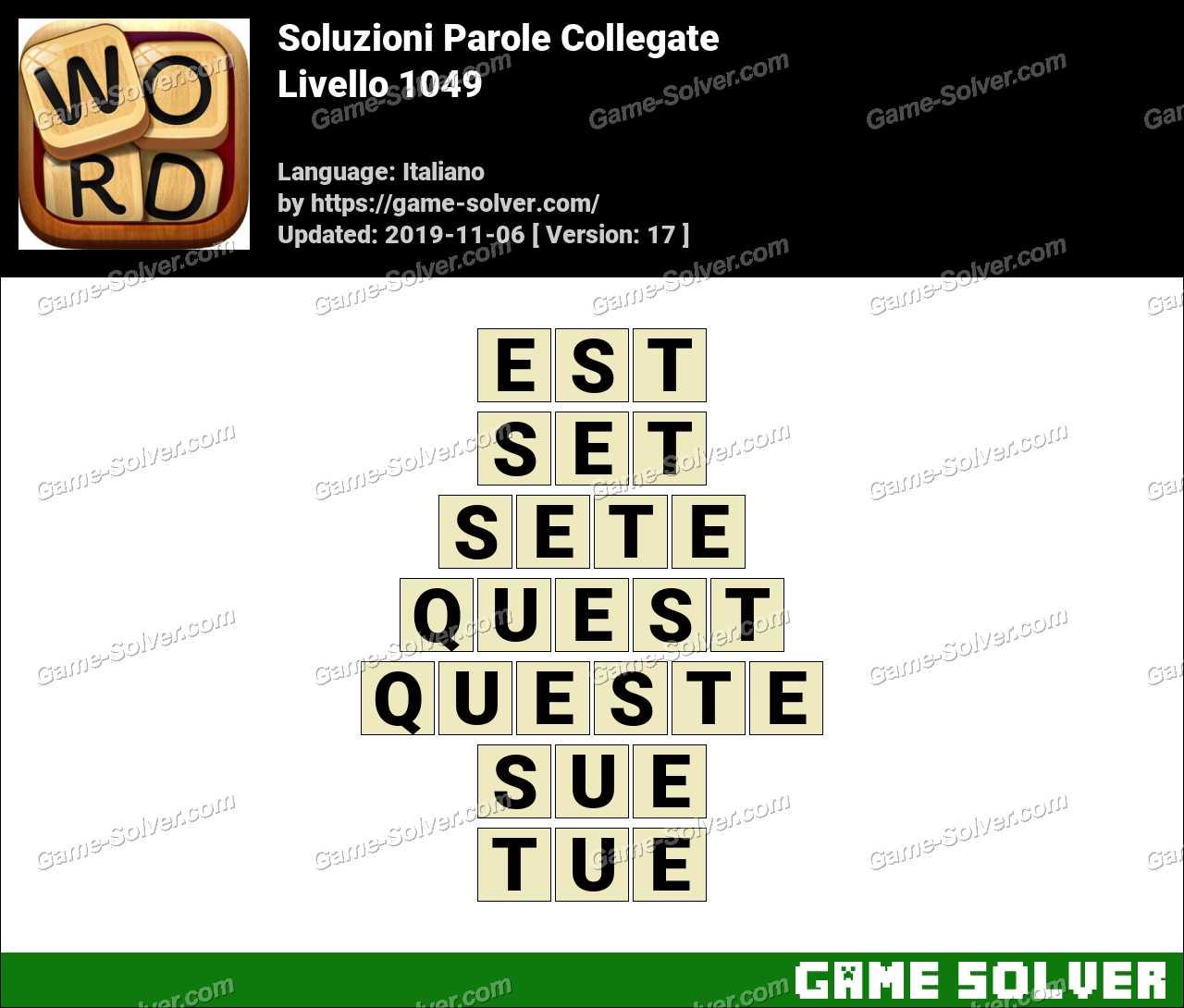 Soluzioni Parole Collegate Livello 1049