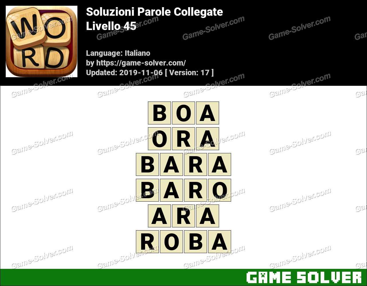 Soluzioni Parole Collegate Livello 45