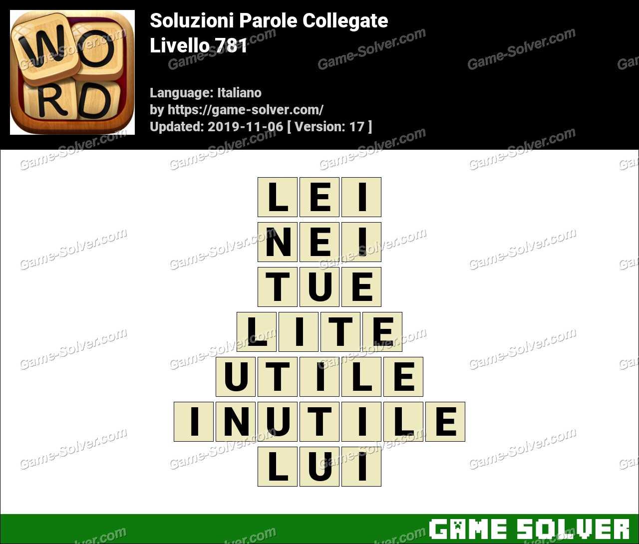 Soluzioni Parole Collegate Livello 781