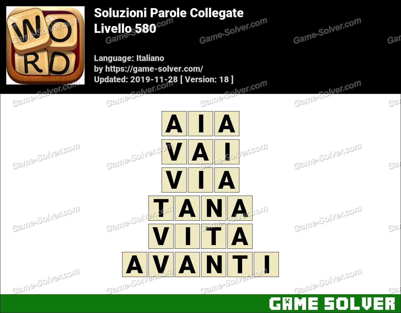 Soluzioni Parole Collegate Livello 580