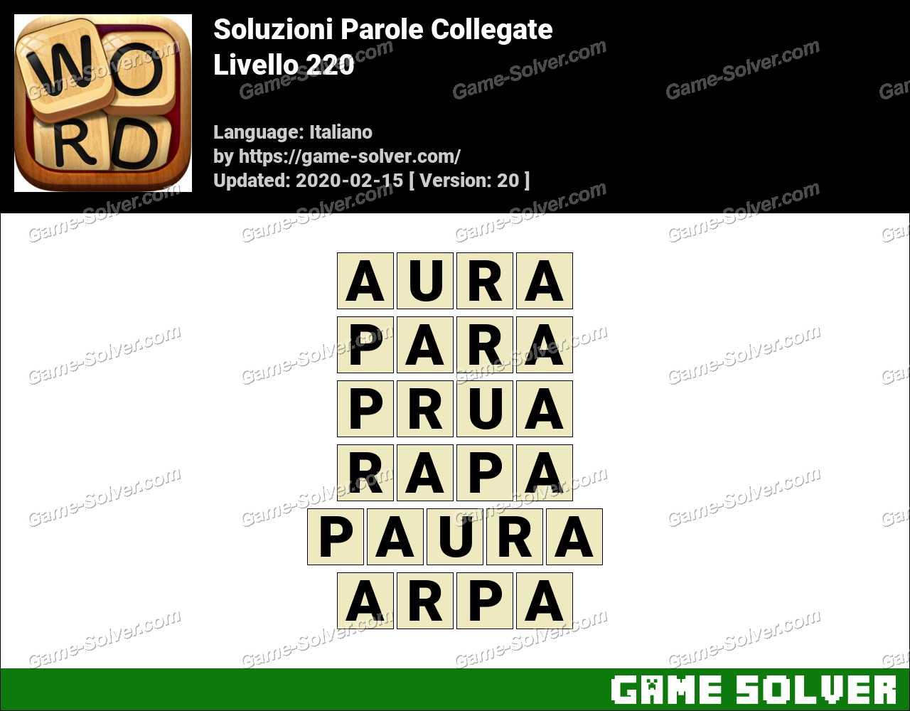 Soluzioni Parole Collegate Livello 220