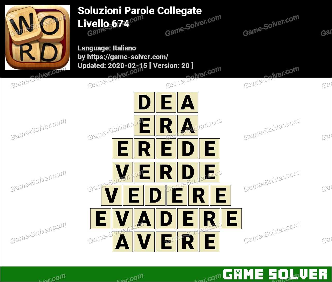 Soluzioni Parole Collegate Livello 674