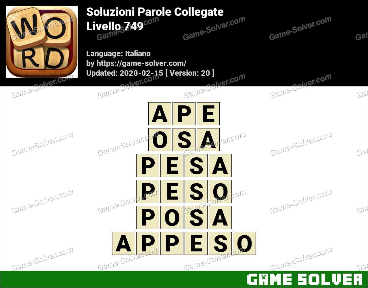 Soluzioni Parole Collegate Livello 749