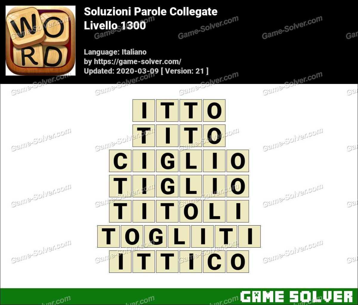 Soluzioni Parole Collegate Livello 1300