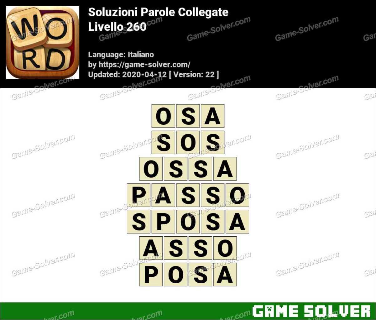 Soluzioni Parole Collegate Livello 260