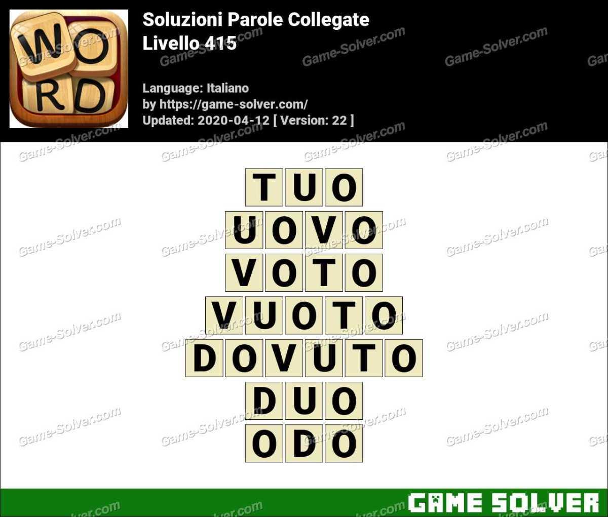 Soluzioni Parole Collegate Livello 415