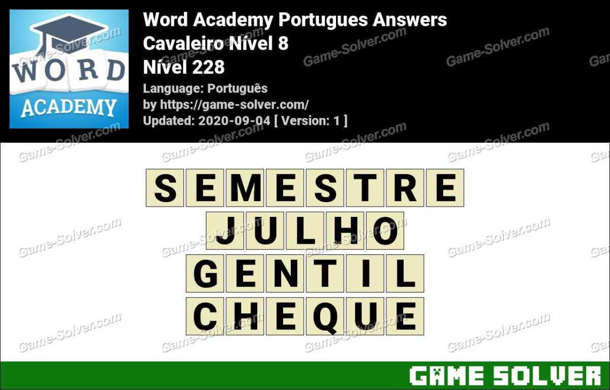 Word Academy Portugues Cavaleiro Nível 8 Answers
