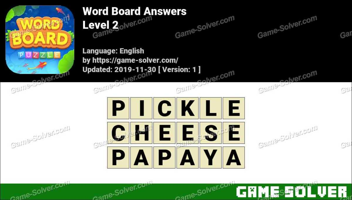 Word Board Level 2 Answers