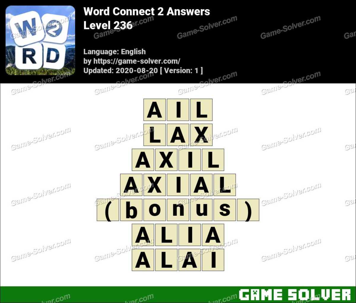Word Connect 2 Level 236 Answers