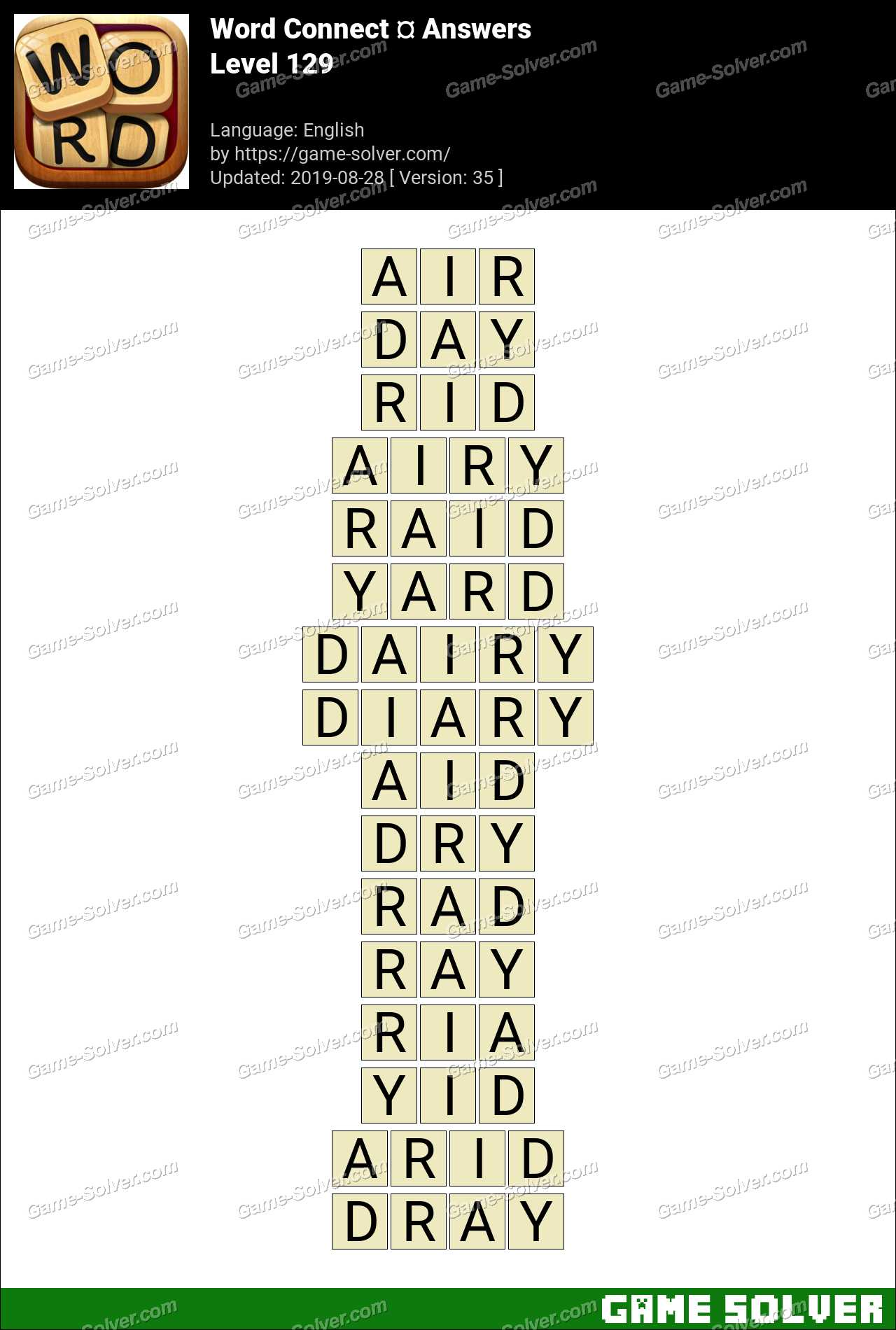 Word Connect Level 129 Answers