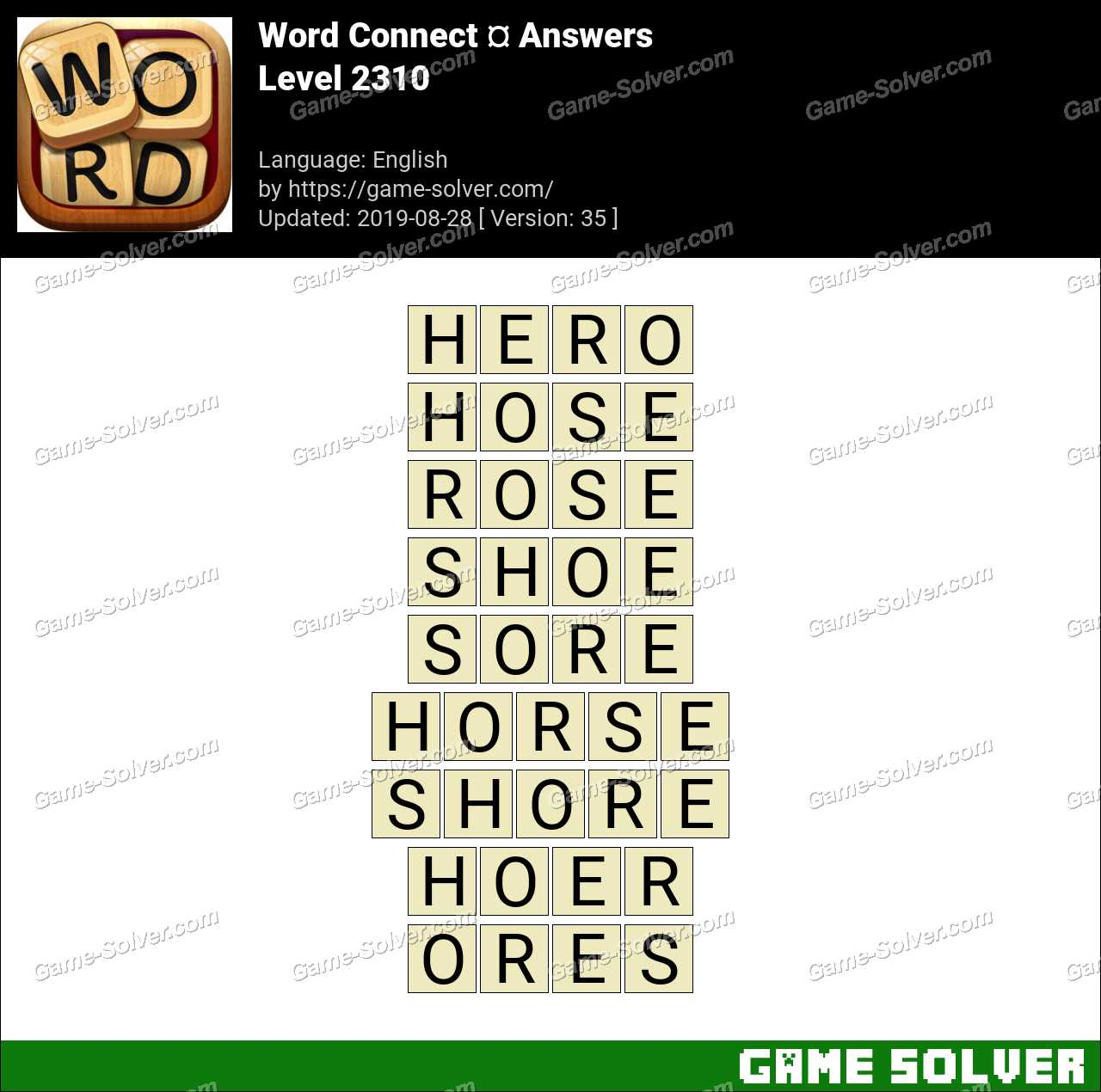 Word Connect Level 2310 Answers