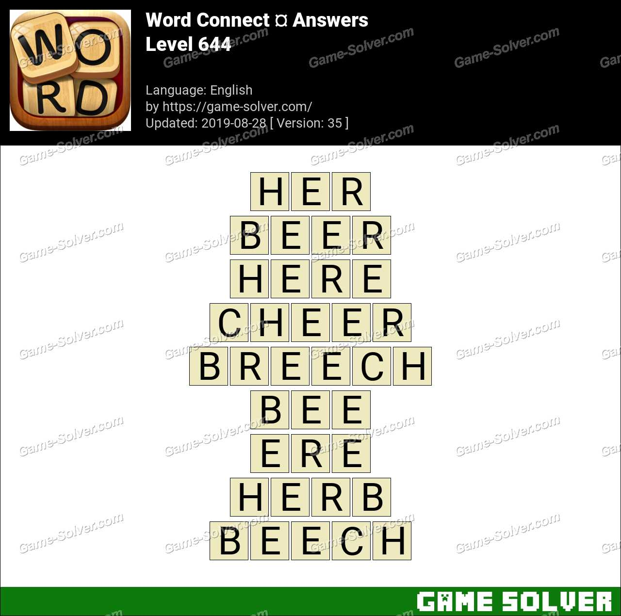Word Connect Level 644 Answers