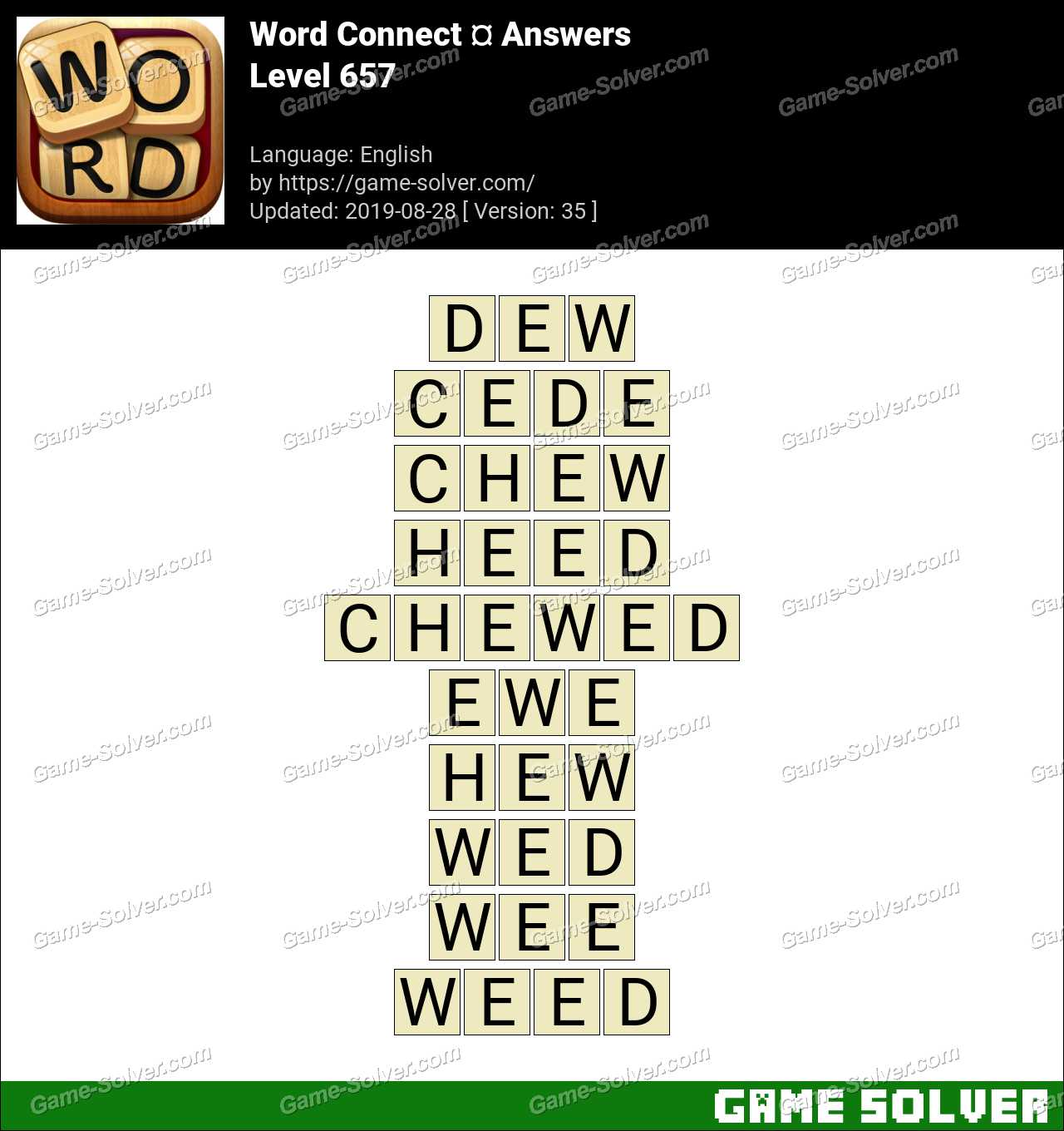 Word Connect Level 657 Answers