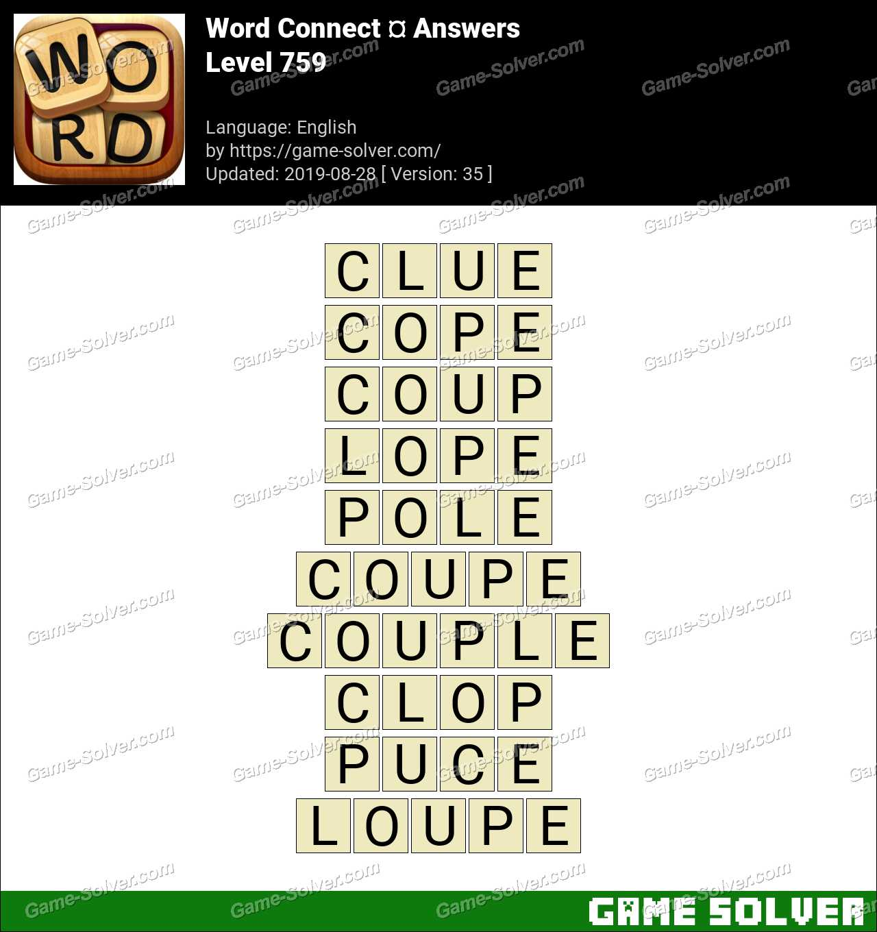 Word Connect Level 759 Answers