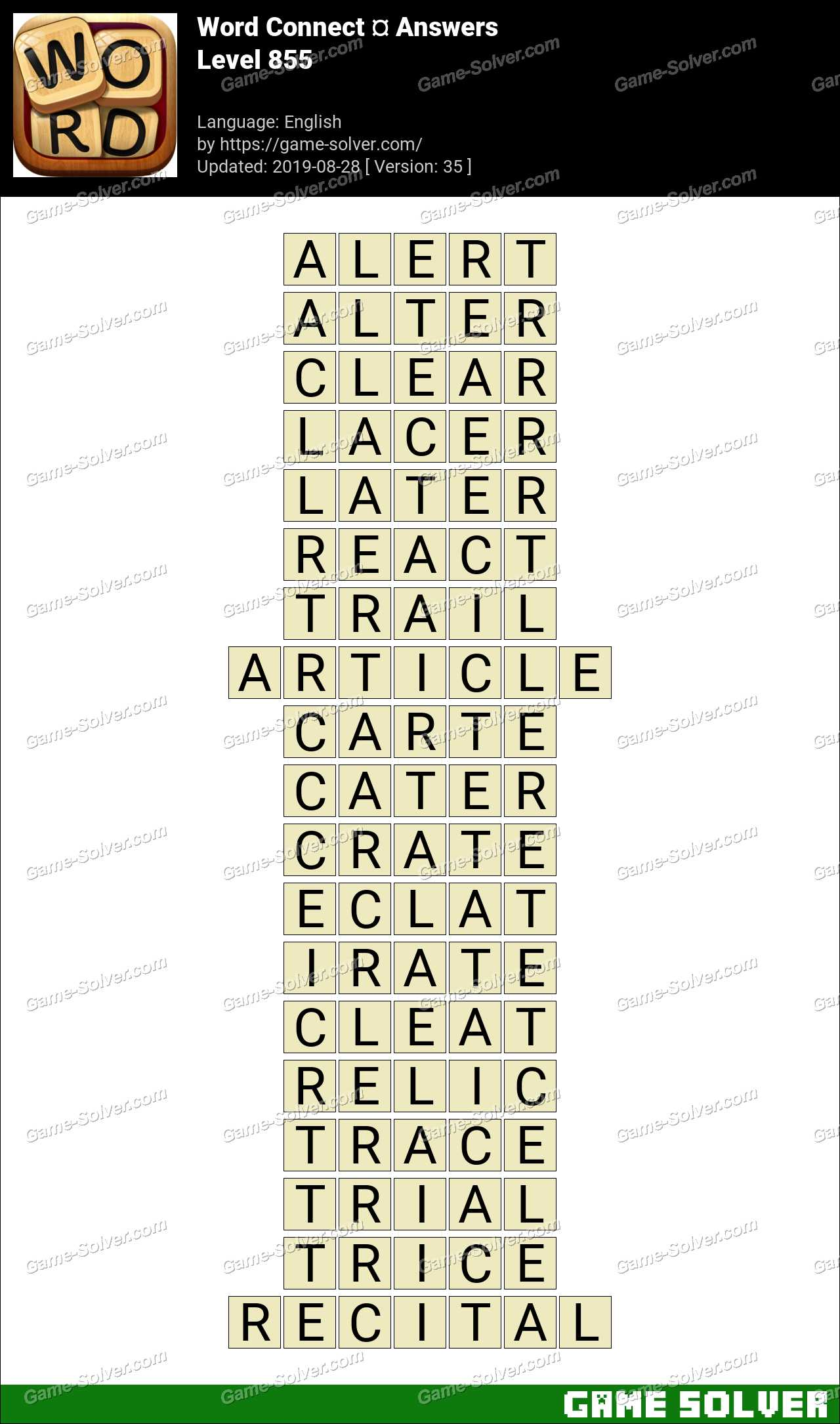 Word Connect Level 855 Answers