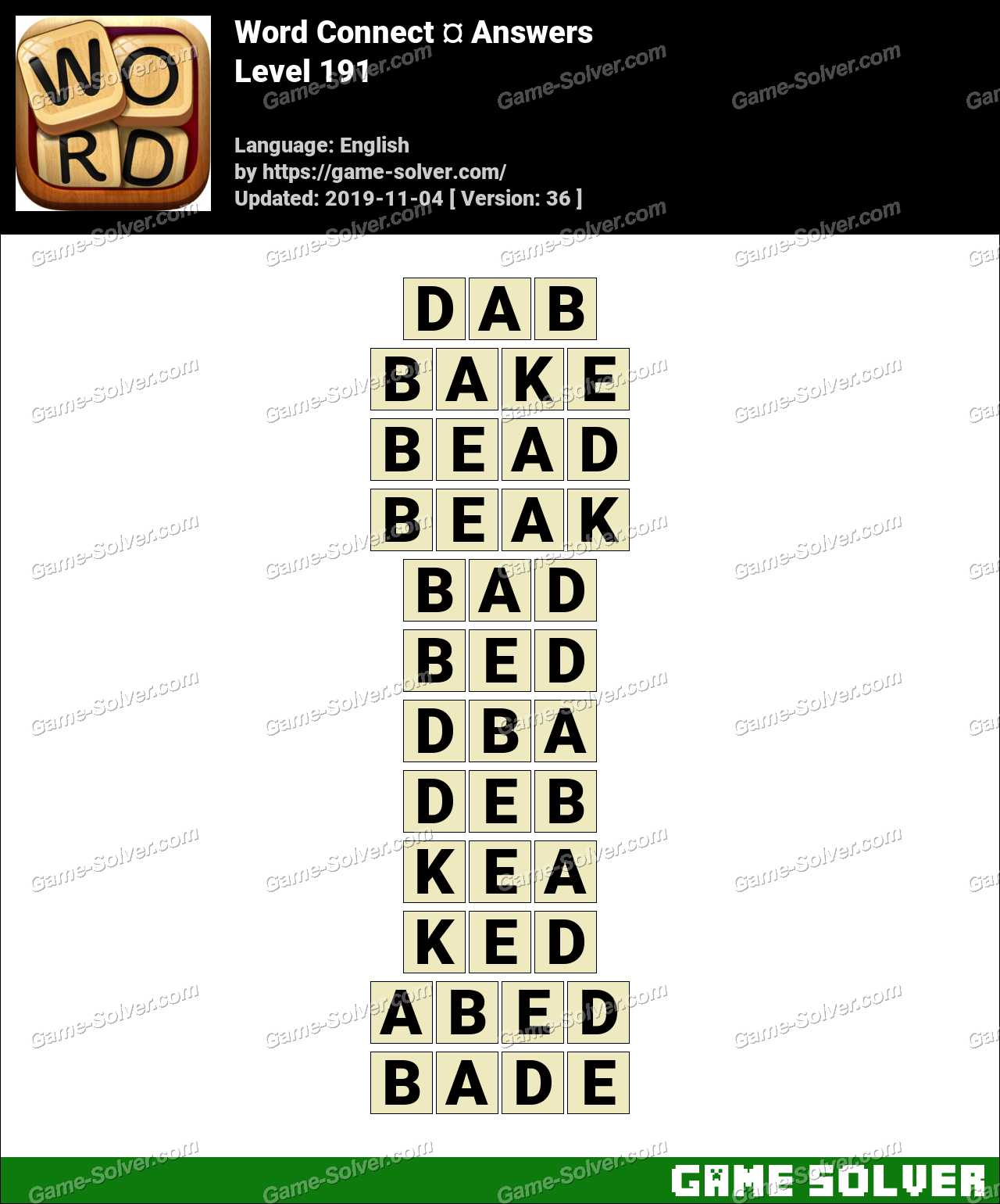 Word Connect Level 191 Answers