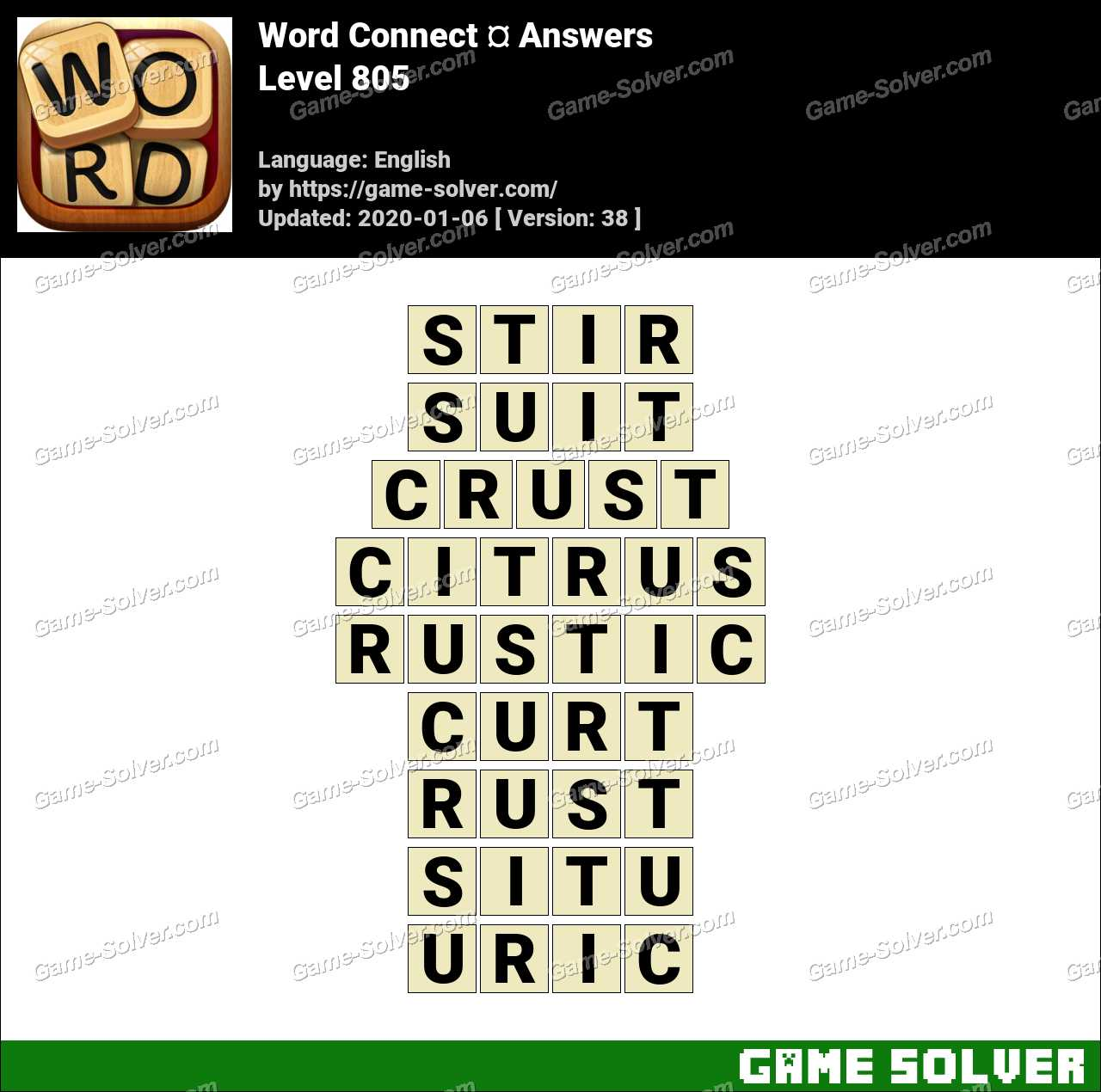 Word Connect Level 805 Answers
