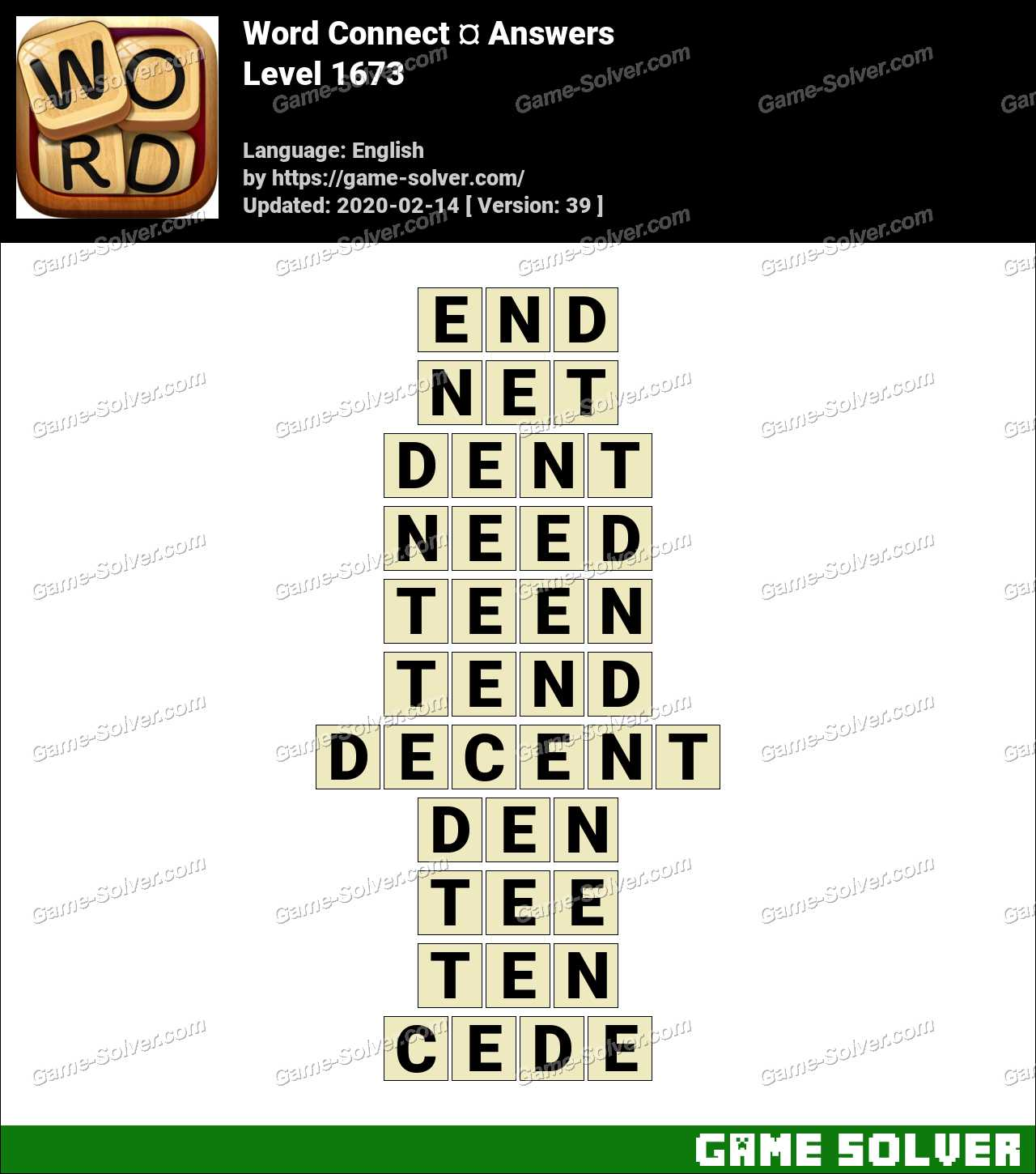 Word Connect Level 1673 Answers