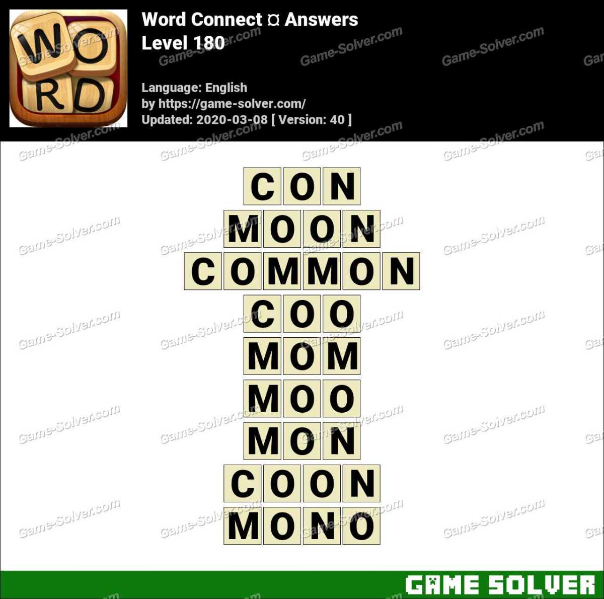 Word Connect Level 180 Answers