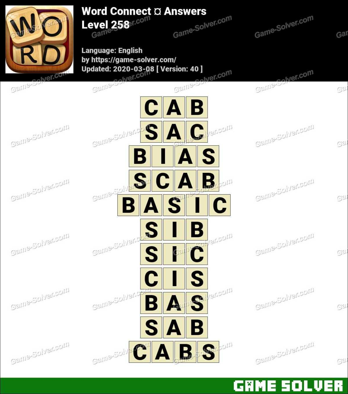 Word Connect Level 258 Answers