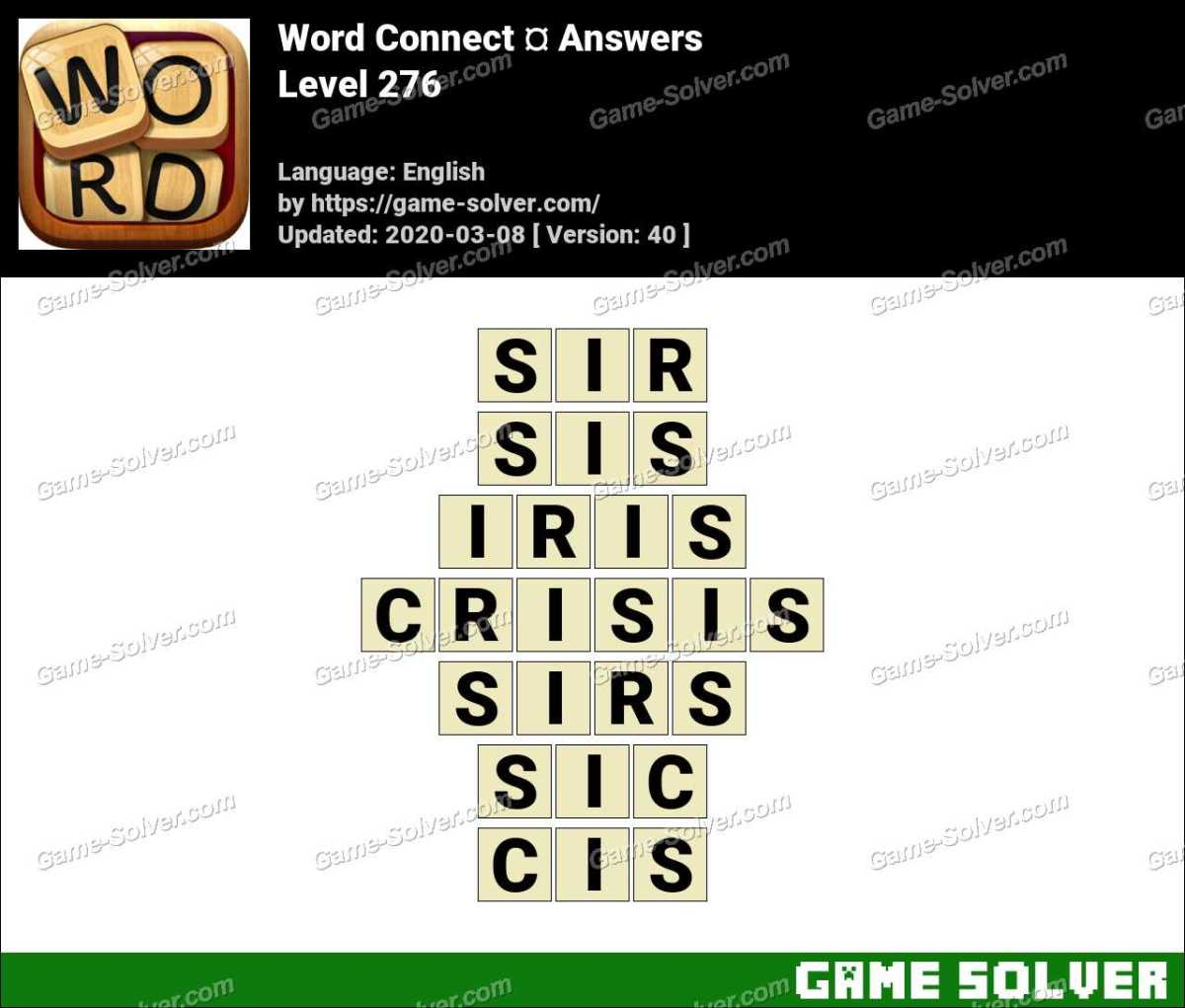 Word Connect Level 276 Answers