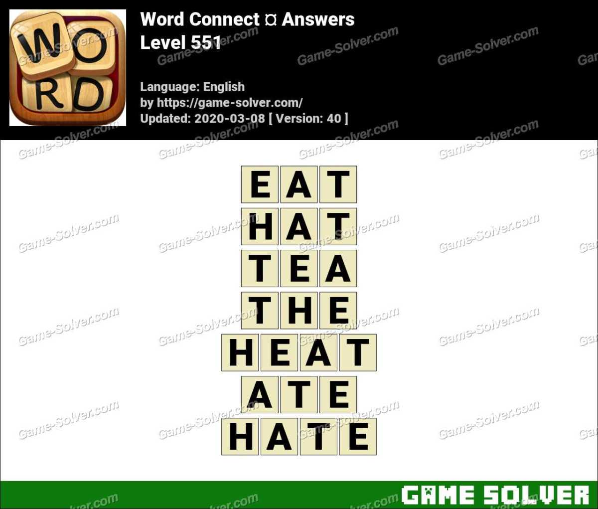 Word Connect Level 551 Answers