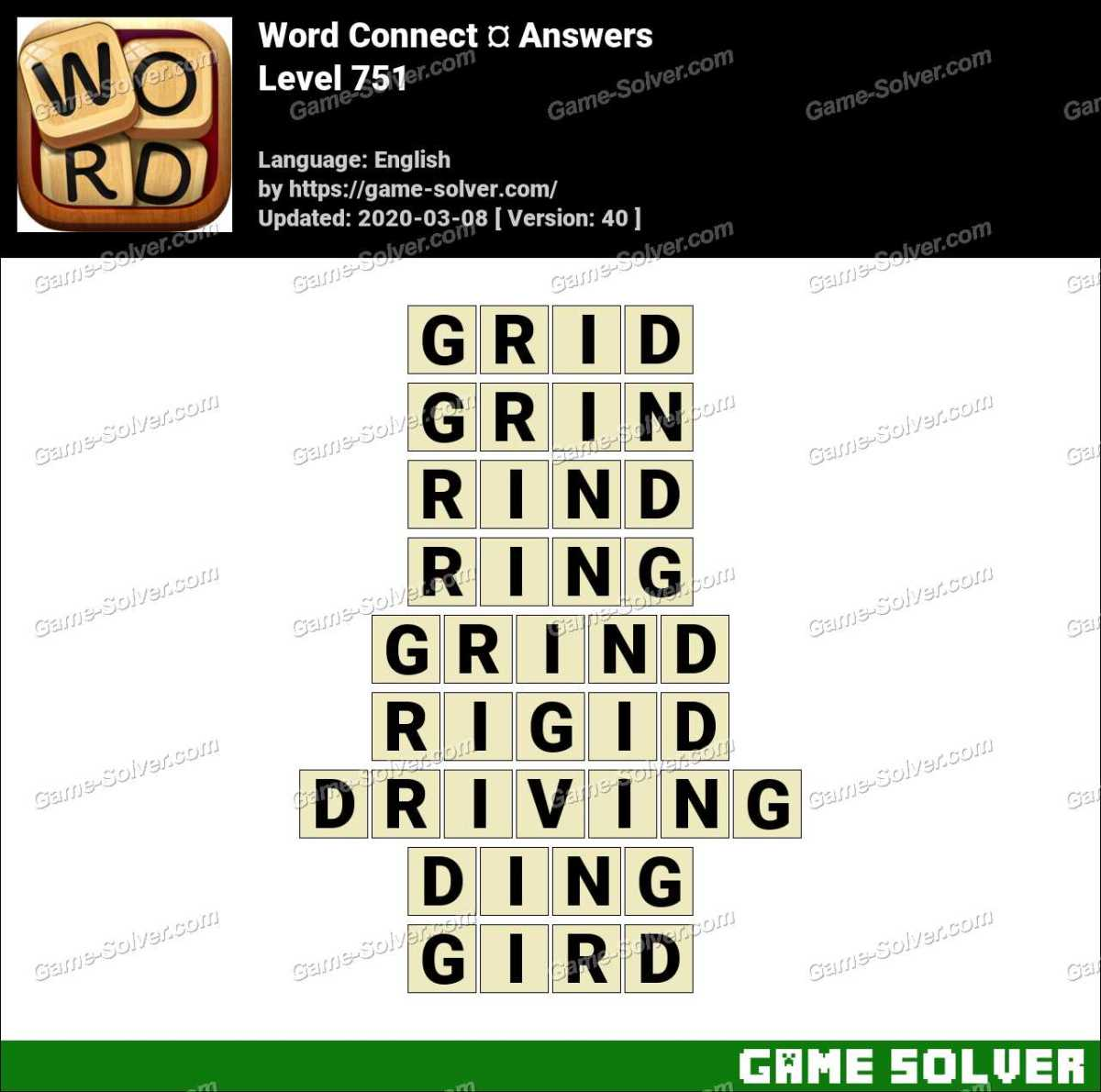 Word Connect Level 751 Answers