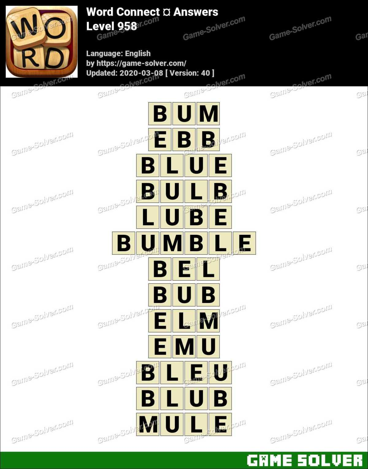 Word Connect Level 958 Answers