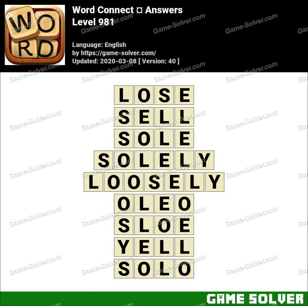 Word Connect Level 981 Answers