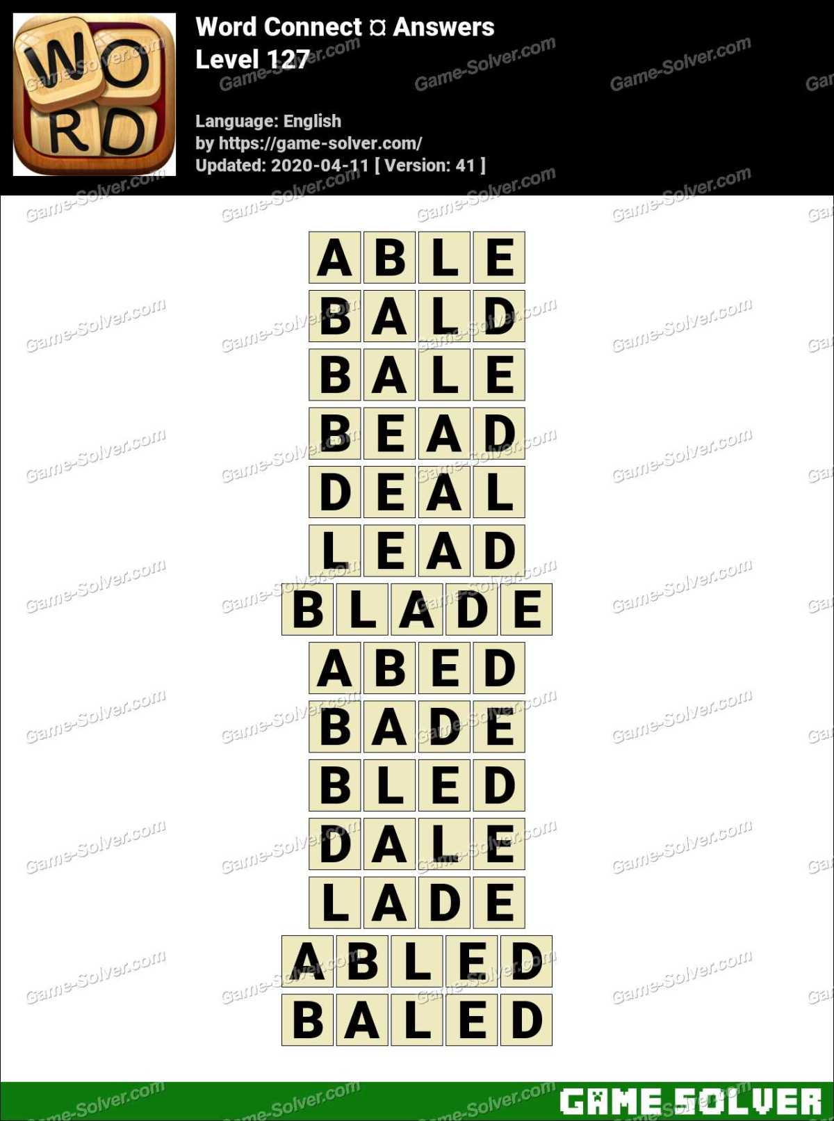 Word Connect Level 127 Answers