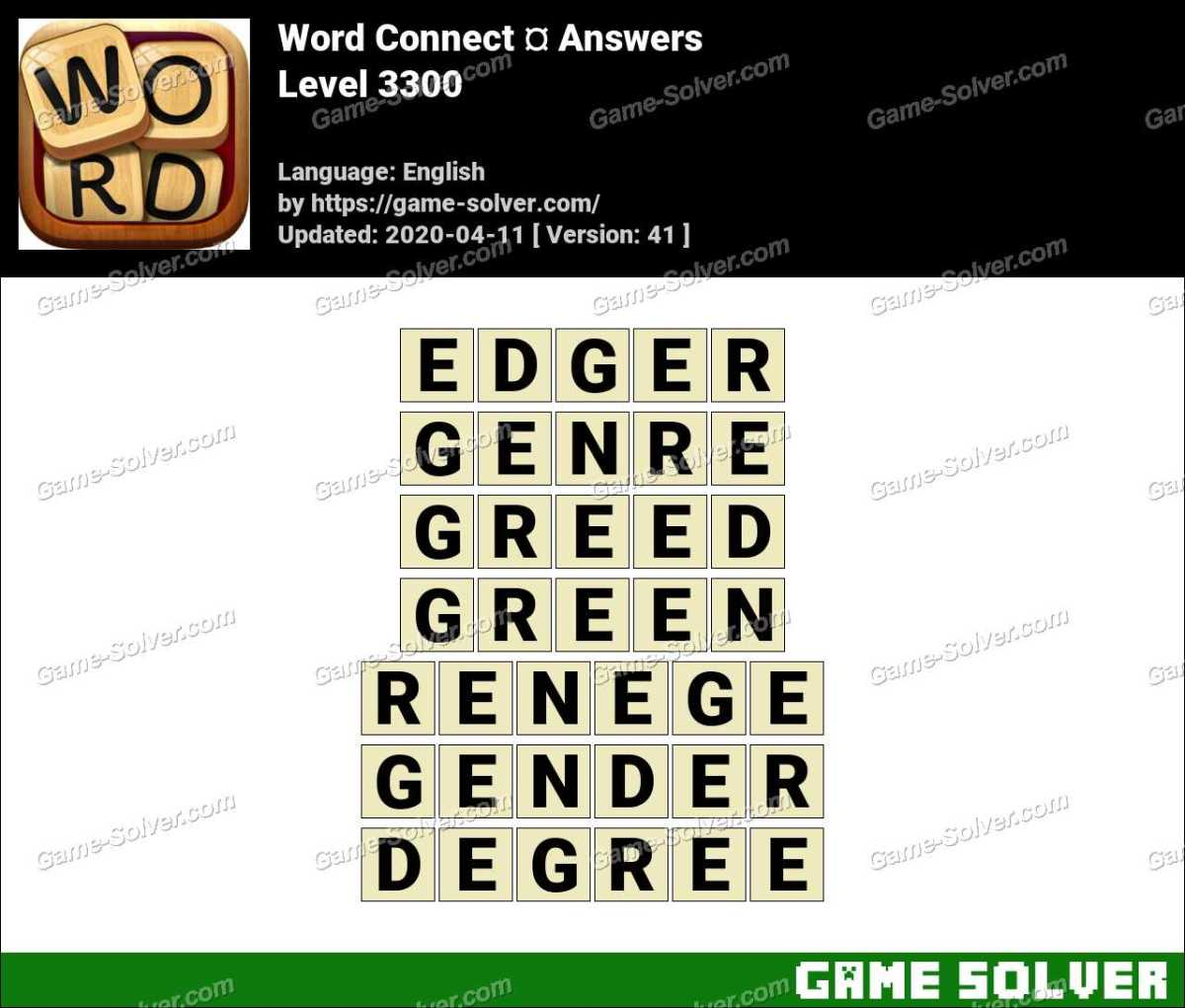 Word Connect Level 3300 Answers