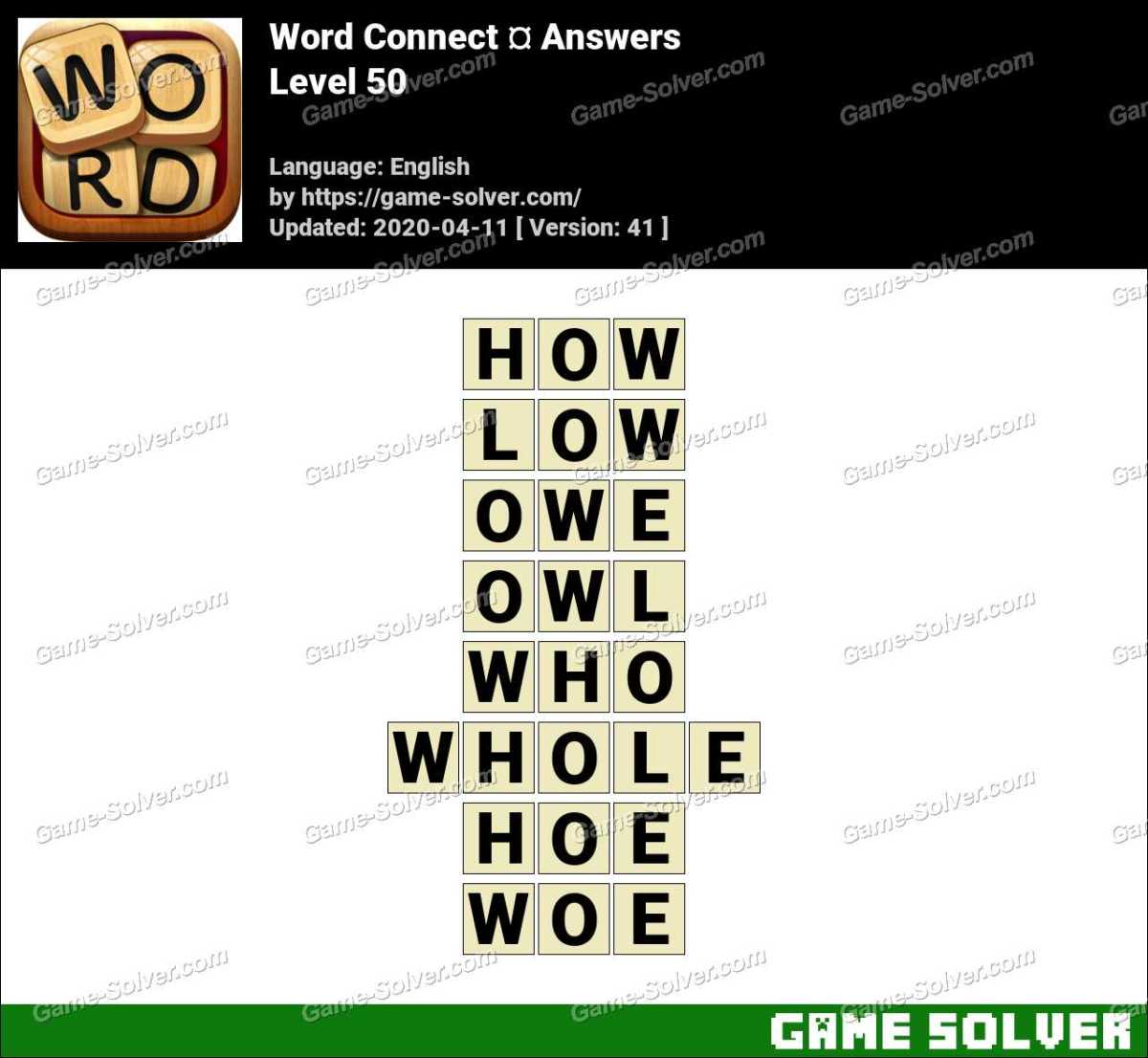Word Connect Level 50 Answers