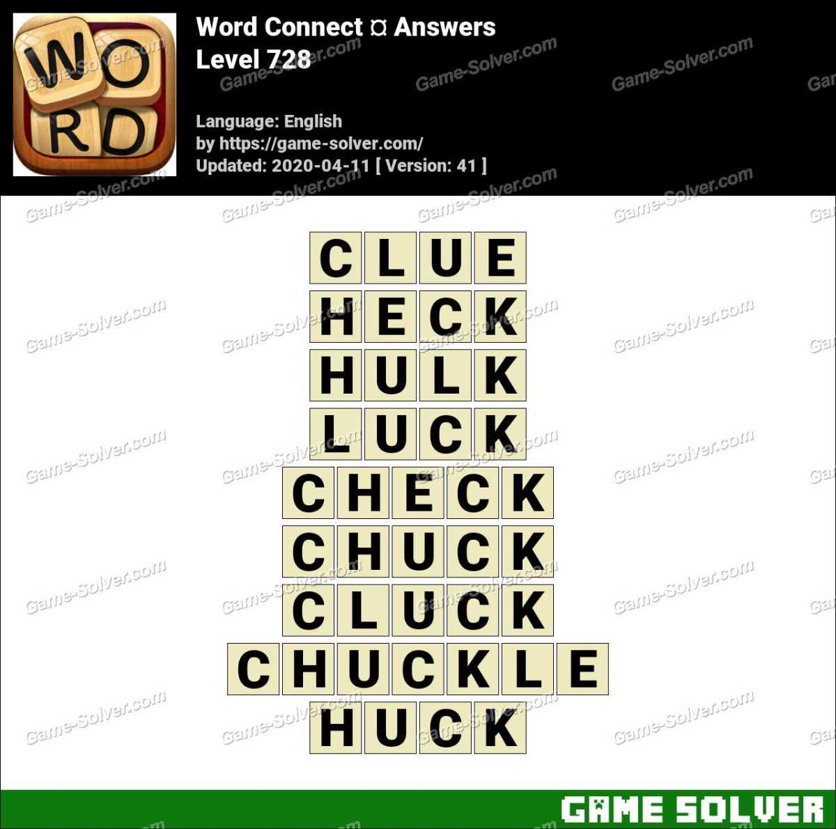 Word Connect Level 728 Answers