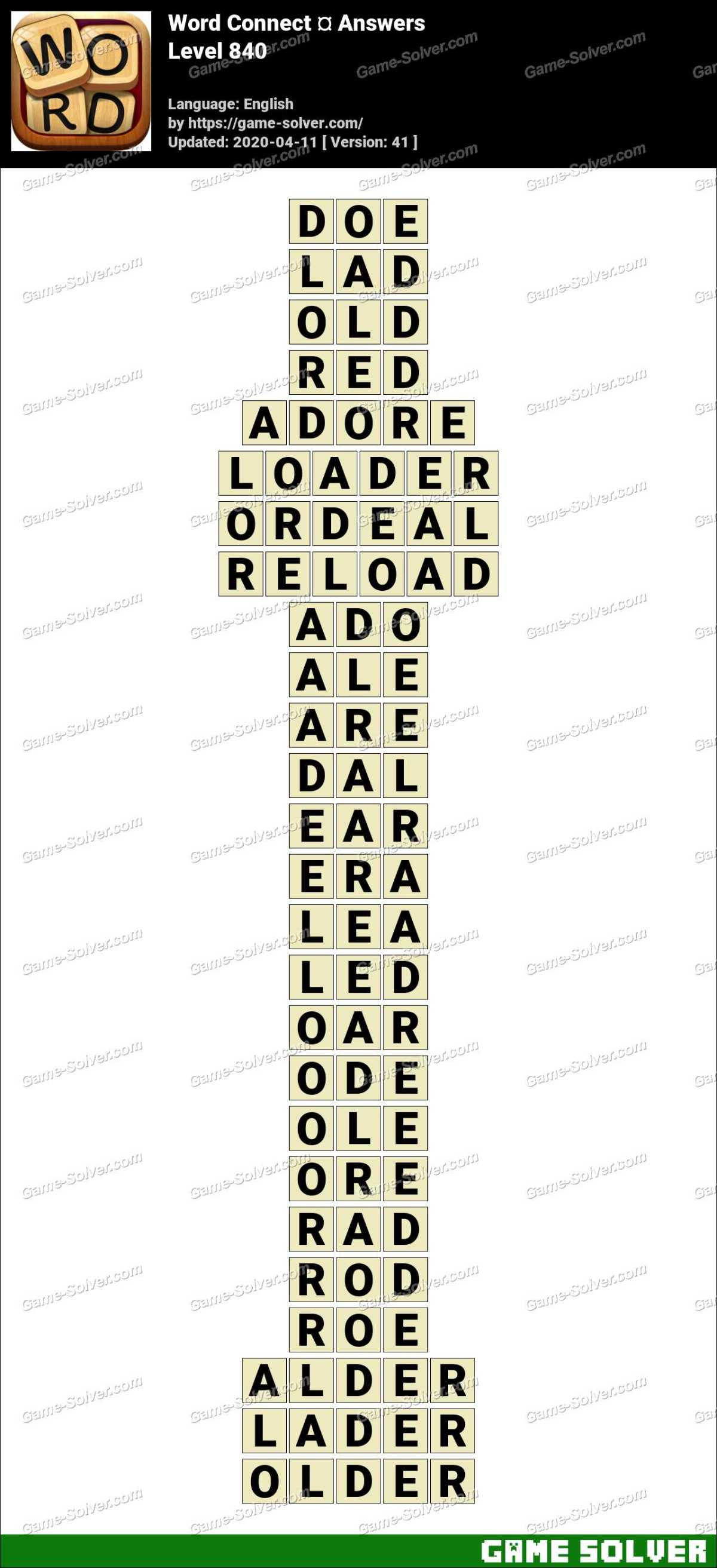 Word Connect Level 840 Answers