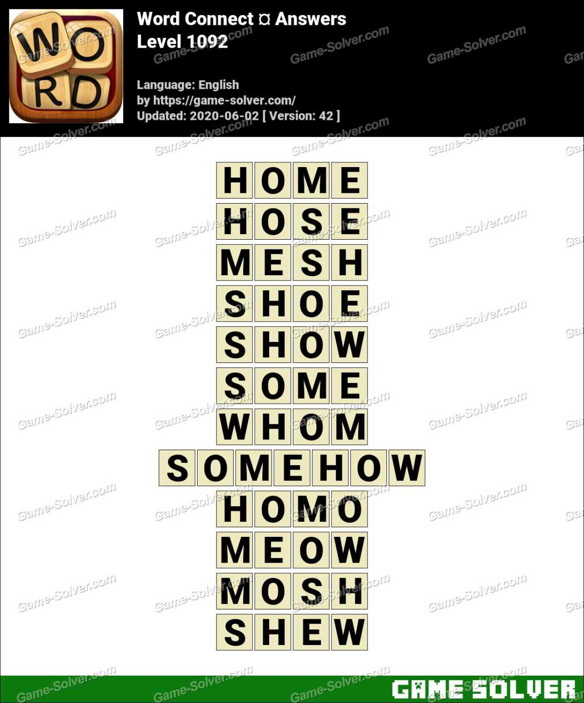 Word Connect Level 1092 Answers