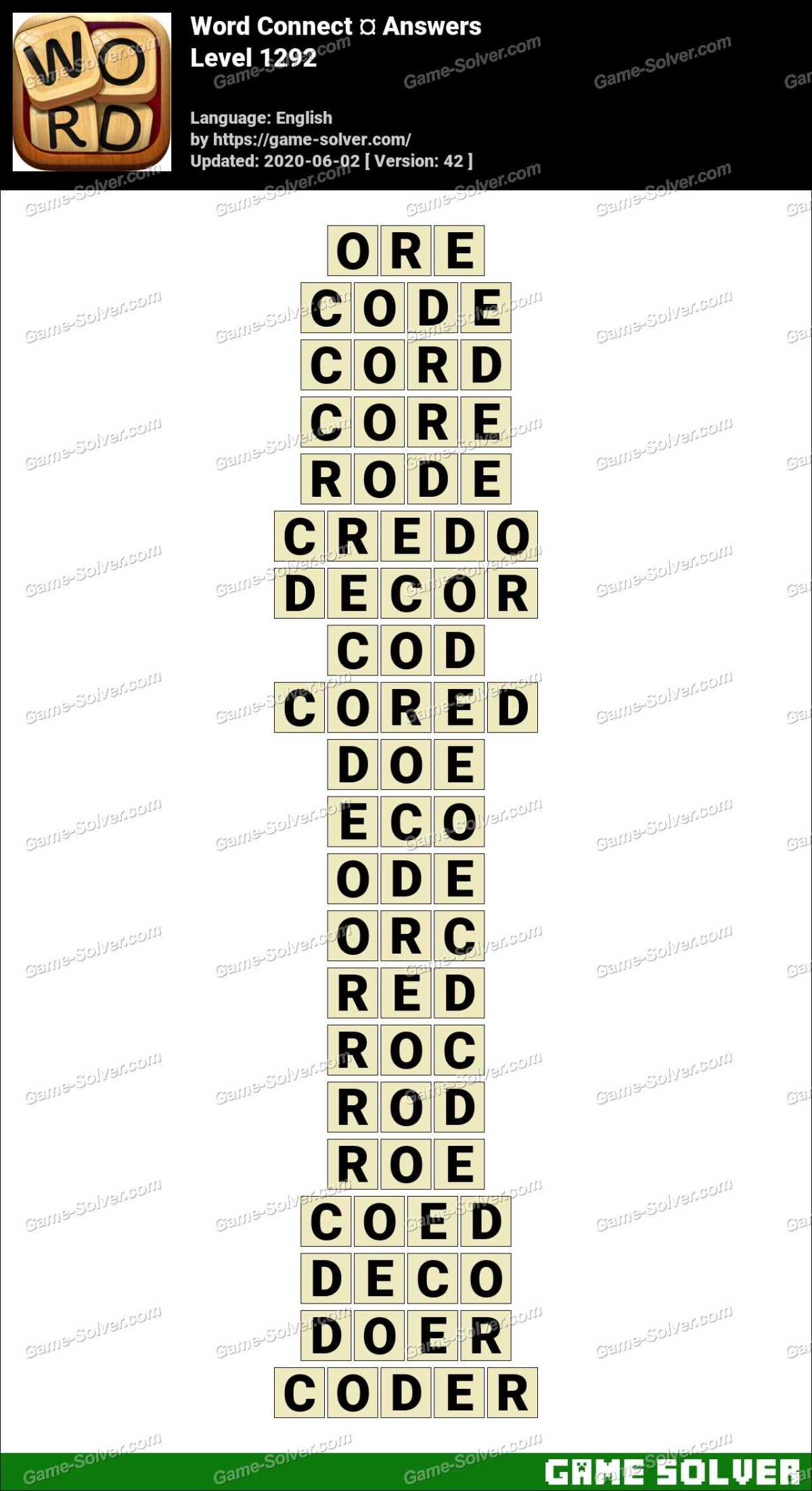 Word Connect Level 1292 Answers