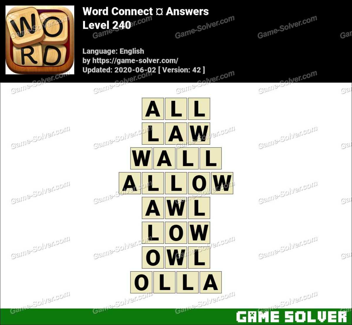 Word Connect Level 240 Answers