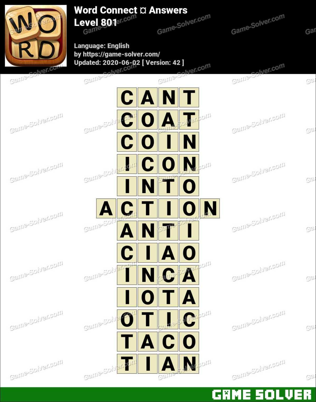 Word Connect Level 801 Answers