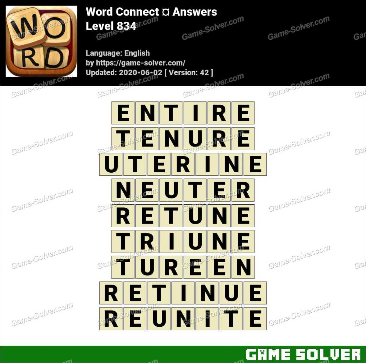 Word Connect Level 834 Answers