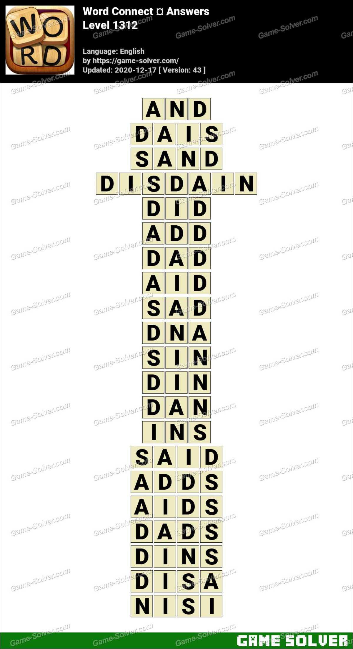 Word Connect Level 1312 Answers