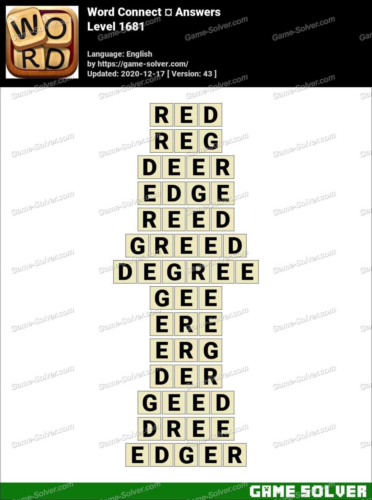 Word Connect Level 1681 Answers