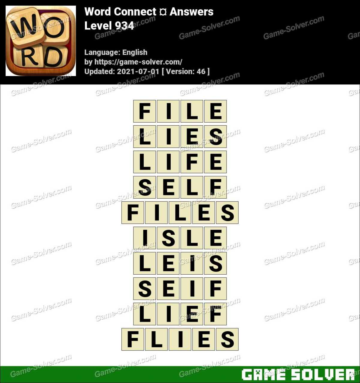 Word Connect Level 934 Answers