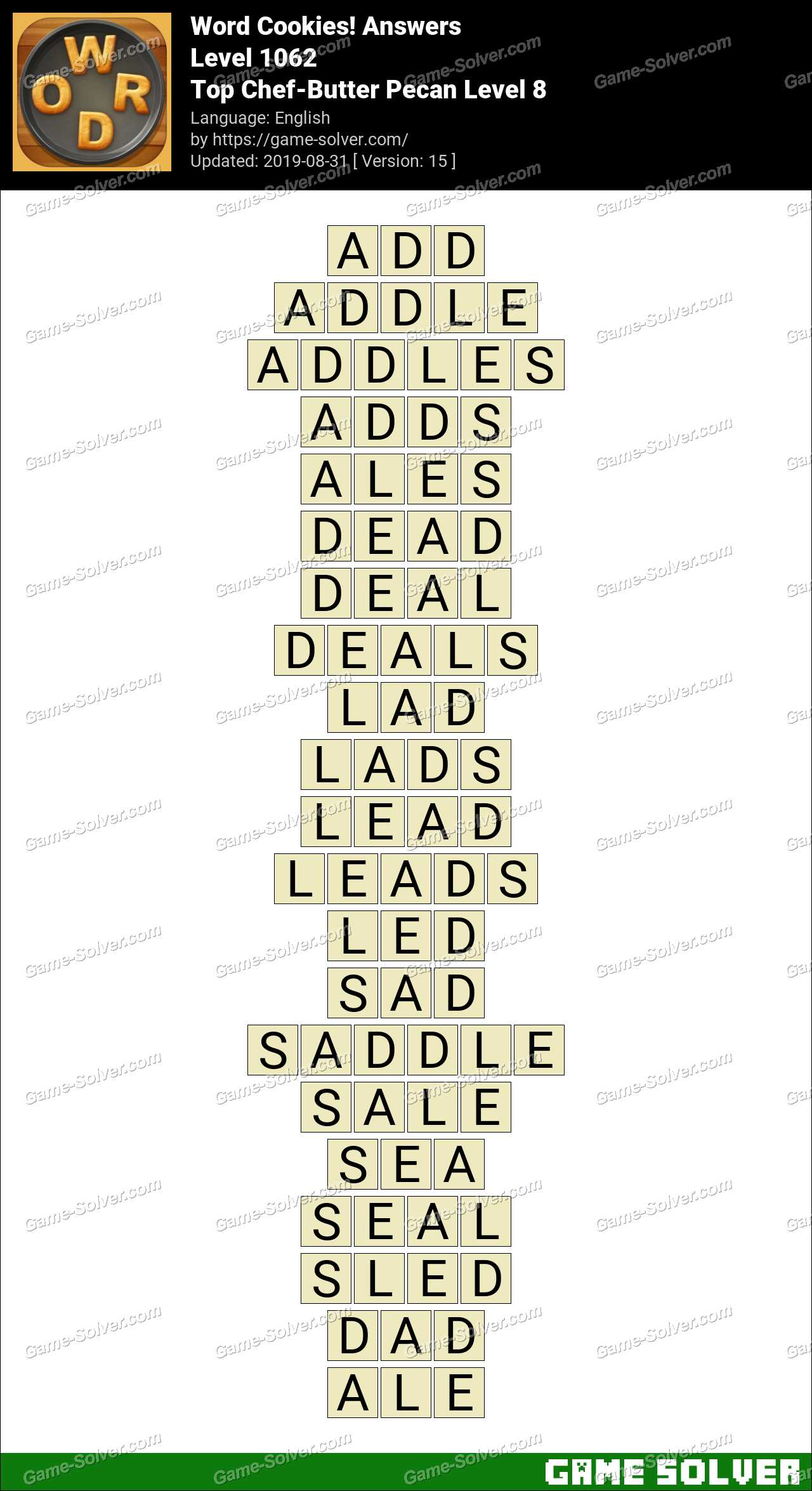 Word Cookies Top Chef-Butter Pecan Level 8 Answers