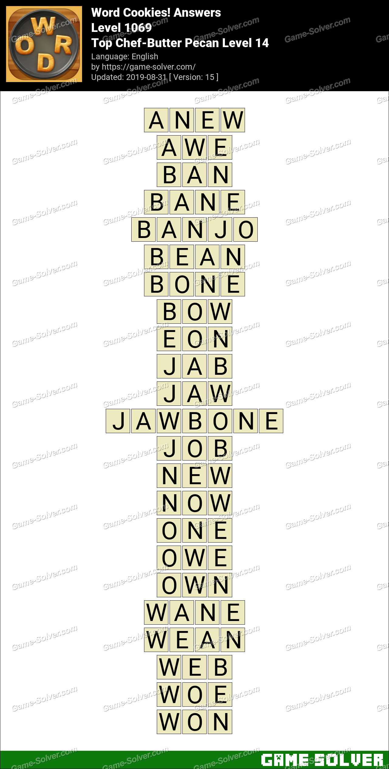 Word Cookies Top Chef-Butter Pecan Level 14 Answers